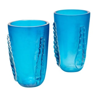 "Blue Murano Glass ""Veronese"" Vases by Costantino For Sale"