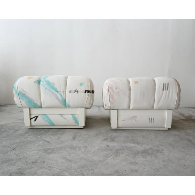 Mario Bellini Custom Post Modern Italian Style Pair of Slipper Chairs Artist Signed Fabric For Sale - Image 4 of 9