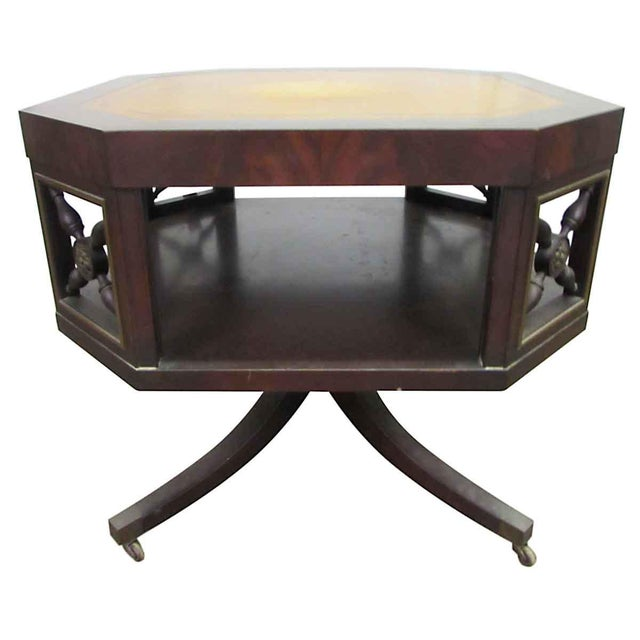 Leather Top Rolling Table - Image 2 of 10