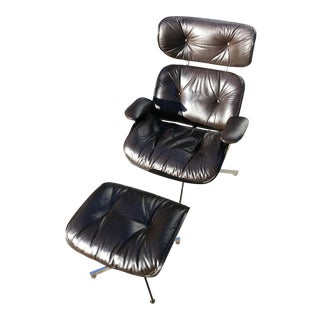 Eames Style Mid-Century Lounge Chair & Ottoman - A Pair