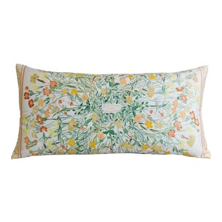 "Custom Hermes Niki Goulandris Floral Feather/Down Pillow 34"" x 17"""
