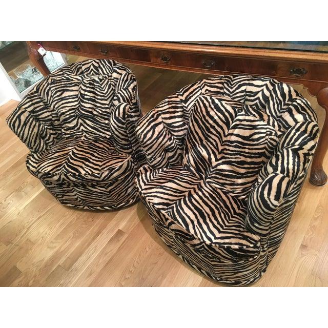 Tufted Zebra Swivel Club Chairs - Pair - Image 2 of 9