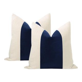 """22"""" Sapphire Italian Velvet Panel & Linen Pillows - a Pair For Sale"""