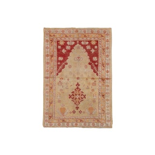 "Antique Turkish Prayer Rug-4'x5'9"" For Sale"