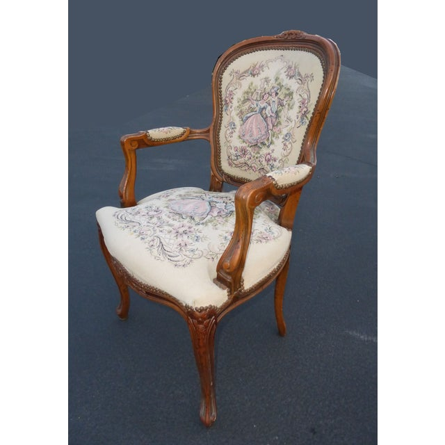 French Provincial Tapestry Ornate Carved Arm Chair For Sale - Image 4 of 10