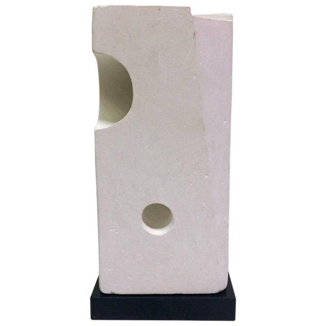 White Plaster Geometric Sculpture - Image 1 of 6