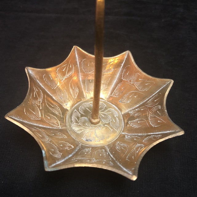 Vintage solid etched brass ring tree holder in the shaped of an umbrella.