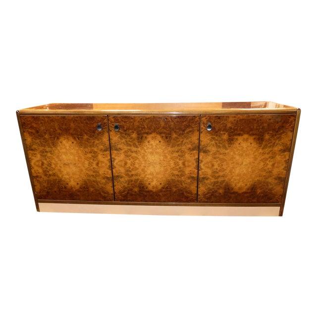 Vintage Roche Bobois Lacquered Burl Wood Credenza For Sale