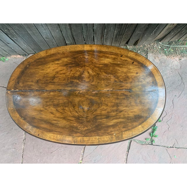 Traditional Oval Burled Walnut Veneer Coffee Table on Pedestal Base For Sale - Image 4 of 13
