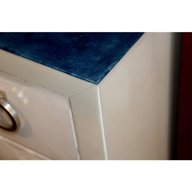Blue Goat Skin Parchment Covered Three-Drawer Stands - a Pair For Sale - Image 8 of 10