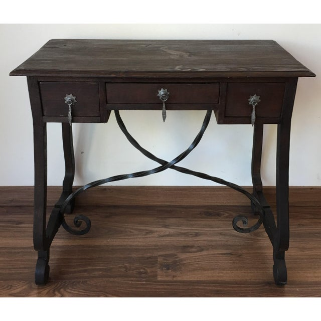 Exceptional Spanish 19th century side table with three drawers - Image 2 of 10