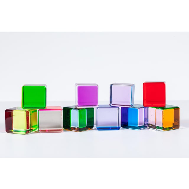 Fun set of ten multi-colored acrylic cubes by artist Vasa Mihich. Each cube side features different sheer neon color. Can...