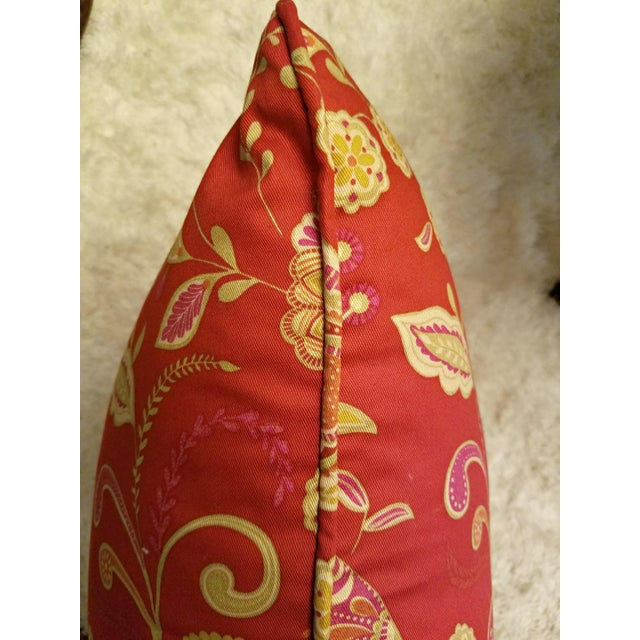 Chinoiserie Red Chinoiserie Peacock Pillow For Sale - Image 3 of 5