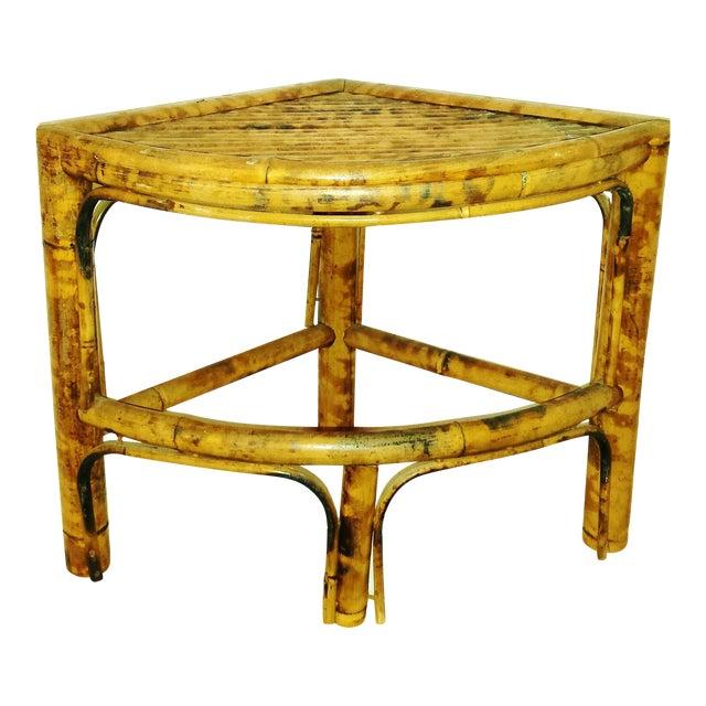 Vintage Scorched Bamboo Corner Shelf For Sale