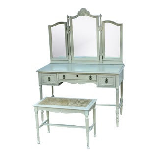 1930's Adams Style Vanity W/Mirror Cane Bench For Sale