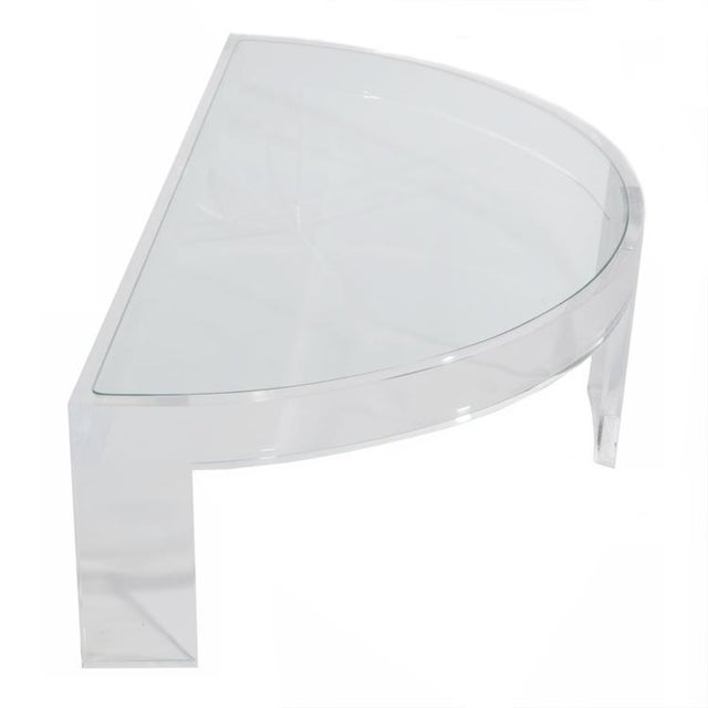 1970s DEMILUNE LUCITE COCKTAIL TABLE For Sale - Image 5 of 7