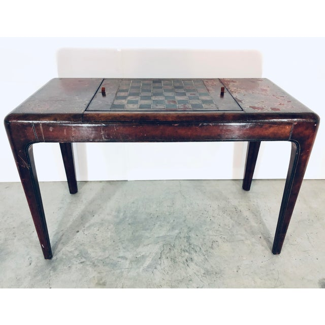 Mid-Century Modern Maitland Smith Distressed Leather Game Table For Sale - Image 13 of 13