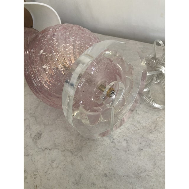 1960s Vintage Pink Murano Glass Table Lamp For Sale - Image 5 of 6
