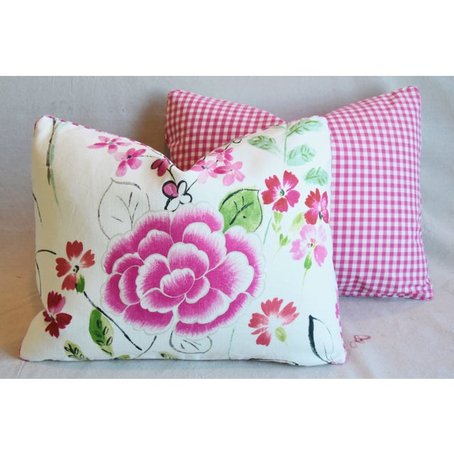 """French Manuel Canovas Floral Linen Feather/Down Pillows 23"""" X 17"""" - Pair For Sale - Image 11 of 13"""