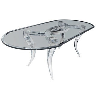 Customizable Gaussian Lucite & Glass Dining Table by Craig Van Den Brulle For Sale