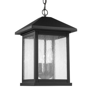 Carriage House 3 Light Outdoor Hanging, Black For Sale