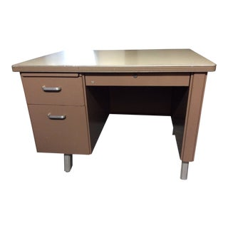 1960's Vintage Tan Metal Desk