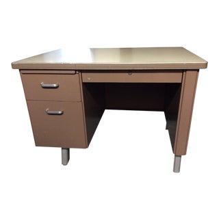 1960's Vintage Tan Metal Desk For Sale