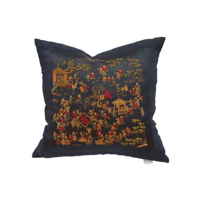 Chinese Hand Embroidered 100 Children Pillow - Image 1 of 6
