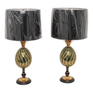 Enameled Porcelain Maison Jansen Table Lamps - a Pair For Sale