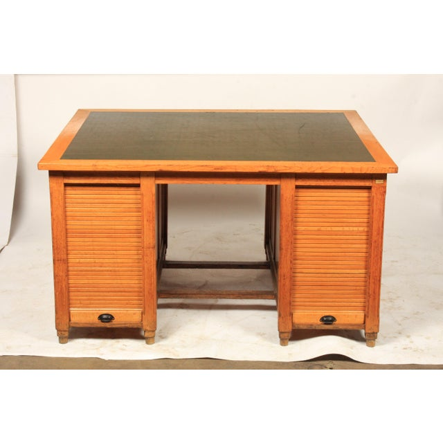 1930s Newspaper Office Partners Desk For Sale - Image 4 of 13