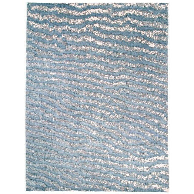 Silk Contemporary/Abstract Area Rug by Carini, 9'x12' For Sale - Image 7 of 7