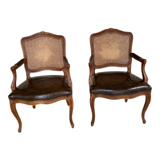 1970's French Bergere Widdicomb Cane Leather Chairs- a Pair For Sale