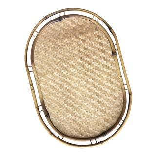 Bamboo and Woven Rattan Serving Tray