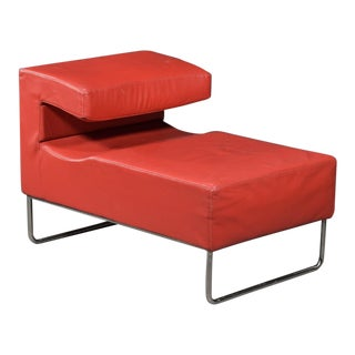1950s Vintage Red Chaise Lounge Chair For Sale