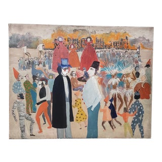 """Jose Rotella Outside Art """"Carnival"""" Original Oil Painting C.1940s For Sale"""