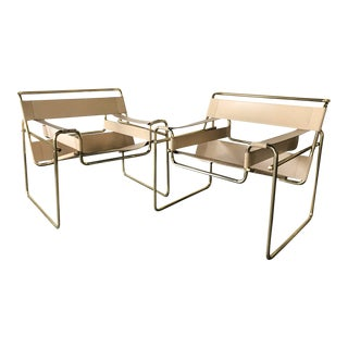 1970s Italian-Made Wassily-Style Brass and Leather Arm Chairs — a Pair