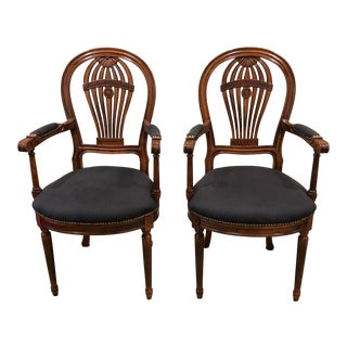 Italian Balloon Motife Carved Wood and Upholstered Armchairs - a Pair For Sale
