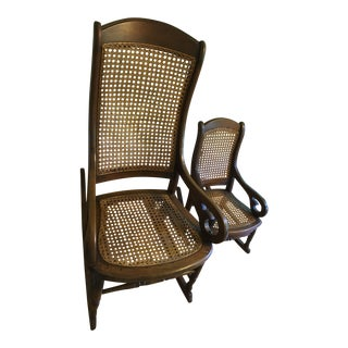 Late 19th Century Adult & Child Lincoln-Style Rocking Chair - a Pair