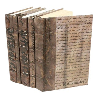 Antique Script Bronze Books - Set of 5 For Sale