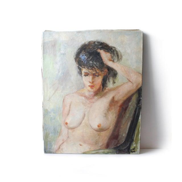 Vintage Walt Litt Oil Painting Nude Woman Portrait - Image 2 of 8