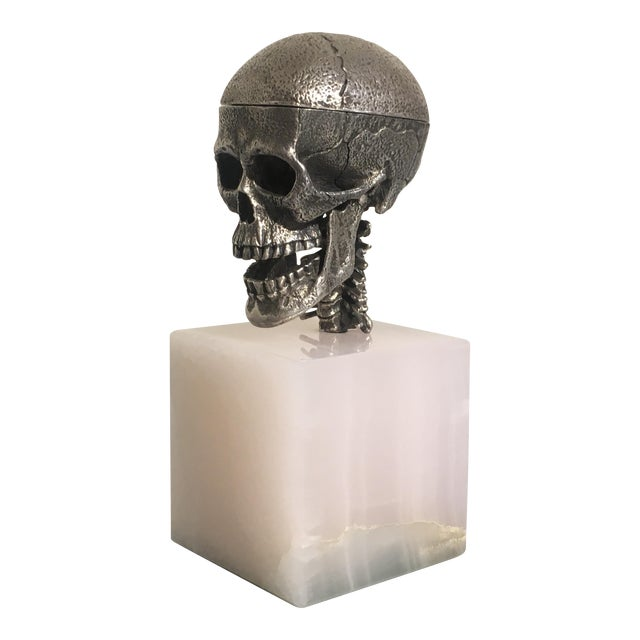 Cast Silver Articulated Model of a Skull with Removeable Brain For Sale