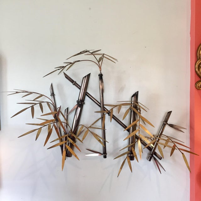 Late 20th Century C. Jere Style Metal Faux Bamboo Wall Sculpture For Sale - Image 5 of 5