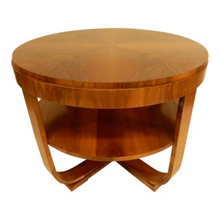 1930's Art Deco Walnut Round Side Table For Sale