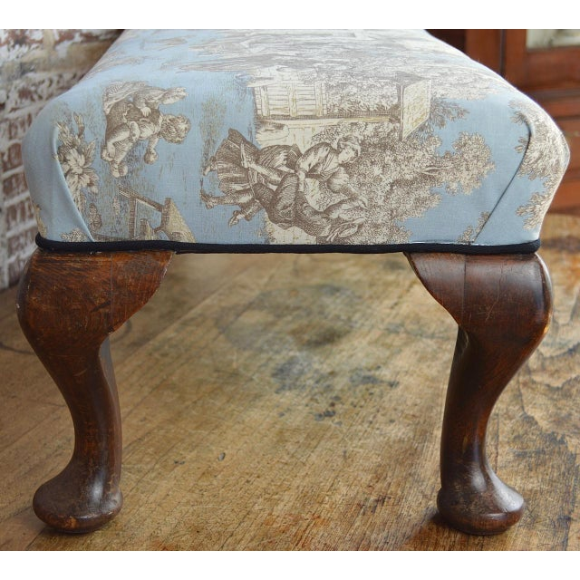 Late 19th Century Late 19th Century Queen Anne Style Upholstered Long Footstool For Sale - Image 5 of 13