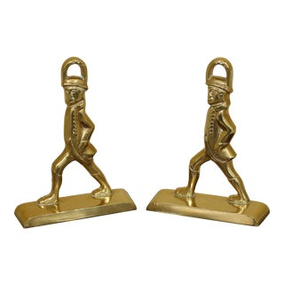 1980s Virginia Metalcrafters Colonial Williamsburg Brass Bookends-a Pair For Sale