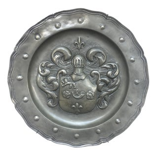 Vintage Armorial Pewter Charger With Crest