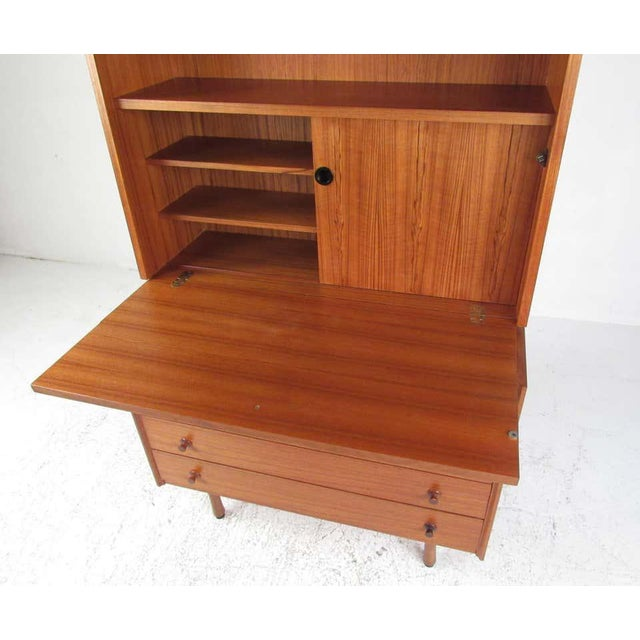 Mid-Century Modern Scandinavian Modern Teak Drop Front Secretary Desk For Sale - Image 3 of 13