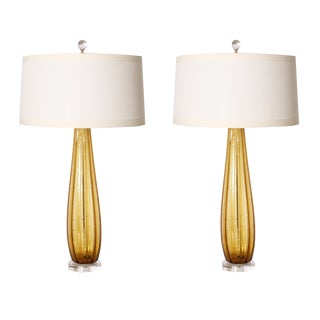 Tall Amber Murano Lamps, C. 1960 With Shade - a Pair For Sale