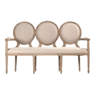 Everest Medallion Settee in Beige For Sale