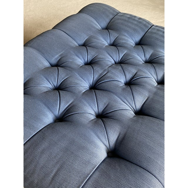 Vintage Periwinkle Blue Robert Allen Upholstery Ottoman For Sale In Chicago - Image 6 of 12